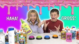 Don't pick the Wrong Button Slime Challenge| HUGE FAIL! | We Are The Davises
