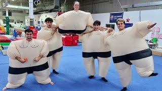 FUNNY GYMNASTICS IN GIANT SUMO SUITS!