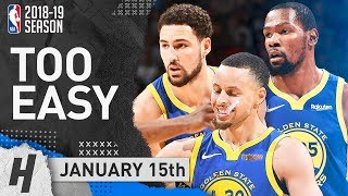 Stephen Curry, Kevin Durant & Thompson BEST BIG 3 Highlights vs Nuggets 2019.01.15 - 89 Pts