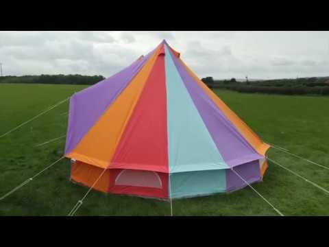 Boutique Camping Regenbogenfarbenes Rundzelt mit Reißverschluss-Bodenplane