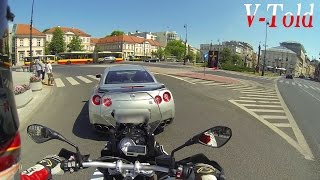 BMW S 1000 XR vs Nissan GT-R street racing in Warsaw