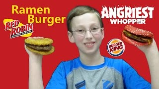 Burger King Angriest Whopper & Red Robin Ramen Burger Taste Test Review | CollinTV