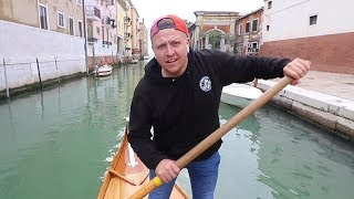 TRYING TO DRIVE A GONDOLA IN VENICE, ITALY