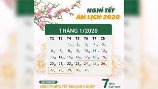 Chính thức công bố lịch nghỉ Tết Nguyên đán Canh Tý 2020