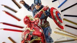 3D Pencil Drawing: Captain America - Speed Draw | Jasmina ...