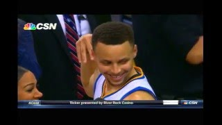 STEPH CURRY THROWS TOWEL HITTING DRAYMOND GREENS CUP OF WATER WARRIORS STEPHEN CURRY
