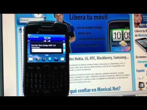 Liberar Blackberry 9360 Curve de Movistar, Yoigo, Vodafone u Orange