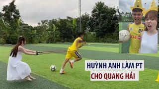 Huỳnh Anh hớn hở làm PT cho Quang Hải, ai ngờ bị bạn trai kéo đi vì quá yếu