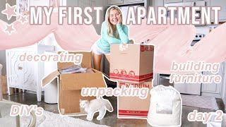 MOVING INTO MY APARTMENT! | Decorating, Building Furniture, Settling In, & Day 2 | Lauren Norris