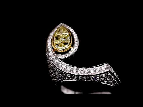 Pear Shaped Natural Yellow Diamond Engagement Ring
