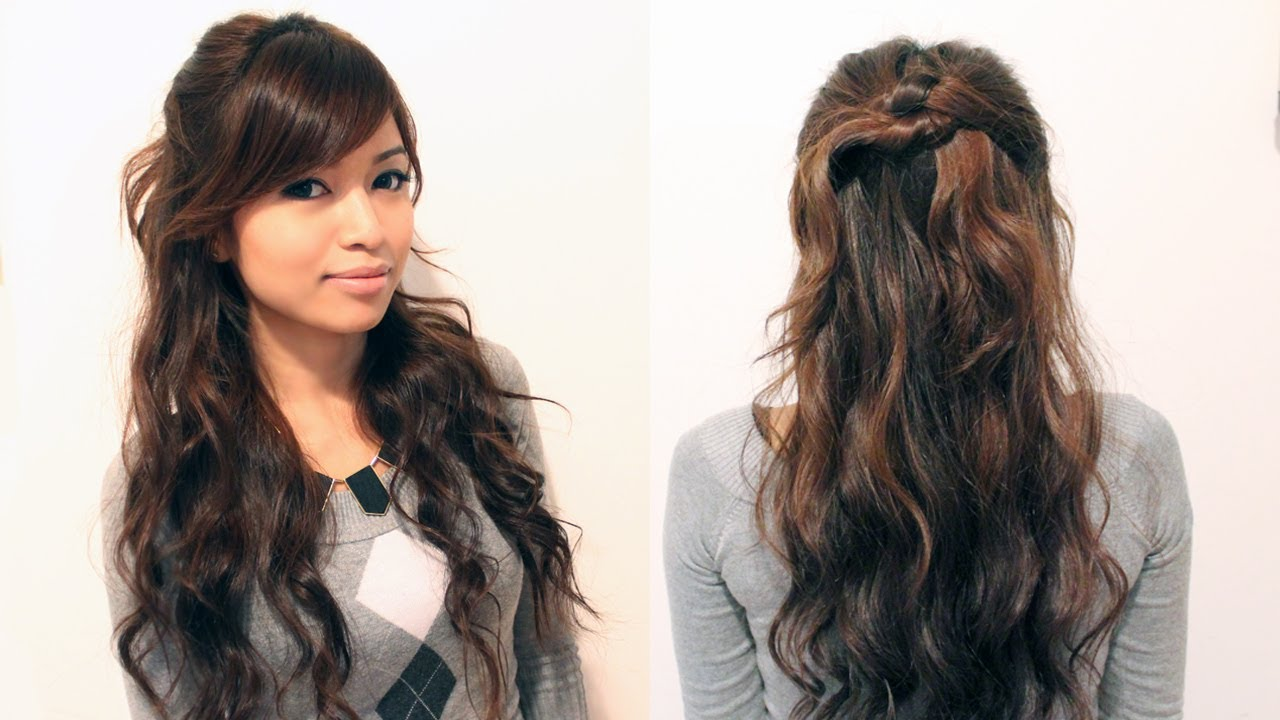 Long Hair Styles And Cuts: Easy Holiday Curly Half-Updo Hairstyle For Medium Long