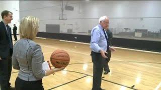 Bernie Sanders plays basketball at Purdue