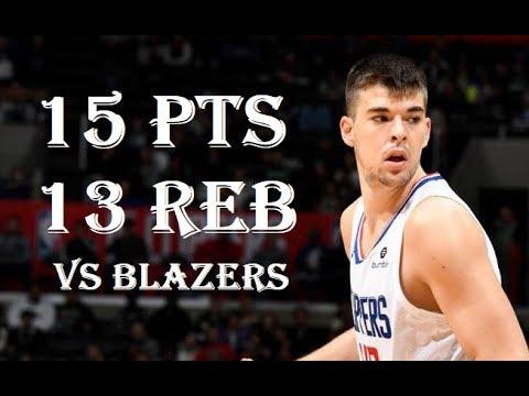 Ivica Zubac 15 Pts 13 Reb LA Clippers vs Portland Trail Blazers NBA Season 2019/20