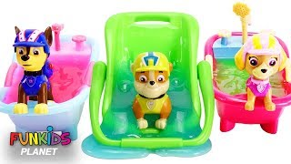 Paw Patrol Slime Bath Time & Bed Time Routine