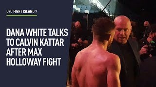 Calvin Kattar consoled by Dana White after epic fight with Max Holloway
