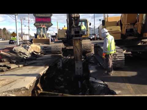J. Masterson Construction hammer ledge on Sewer project in
