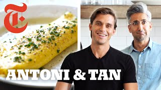 Queer Eye's Antoni Challenges Tan to Cook a French Omelet   NYT Cooking