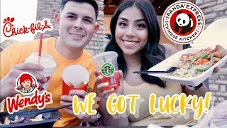 LETTING THE PERSON IN FRONT OF US DECIDE WHAT WE EAT FOR 24 HOURS!|L&L