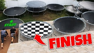 We Built a Trampoline Race Track in our Backyard!!