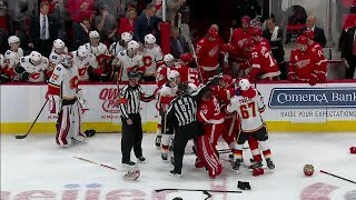 Gotta See It: Chaotic bench brawl erupts between Flames and Red Wings