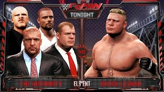 WWE RAW 2K15 : Brock Lesnar vs The Authority - 4 vs 1 Gauntlet - 06/29/15  (Guest Booker)
