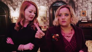 Miranda Otto & Lucy Davis reveal BTS secrets on set of Chilling Adventures of Sabrina