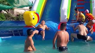 Bé Tắm Bể Bơi Phao Trượt Phao Nước Thật Vui Nhộn - Swimming Pool Bath Float Children's Fun