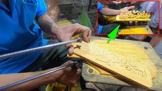 Bái phục Thánh khắc chữ trên Gỗ như máy cắt CNC ở chợ đêm Phú Quốc