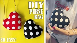 DIY HEART PURSE BAG TUTORIAL // Cute Dotted Mini Bag Design No Sew