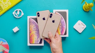 Apple iPhone XS vs XS Max Unboxing! (Gold)