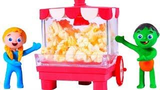 SUPERHERO BABIES AND THE POPCORN MACHINE ❤ SUPERHERO PLAY DOH CARTOONS FOR KIDS
