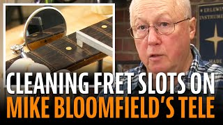 Watch the Trade Secrets Video, Yuck! Cleaning fret slot gunk from the Mike Bloomfield Tele