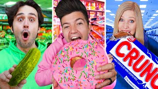 Eating ONE COLOR Gas Station Food for 24 Hours!