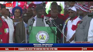 Okorocha Roots For AA's Uche Nwosu During APC Imo Rally