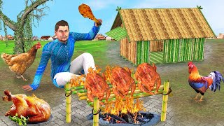 जनजाति बांस चिकन बनाना Tribe Bamboo Chicken Cooking Comedy Video हिंदी कहानिया Hindi Kahaniya Comedy