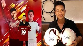 Thủ môn Bùi Tiến Dũng và tiền vệ Quang Hải U23 bất ngờ có hành động 'lạ' với siêu mẫu Đức Vĩnh