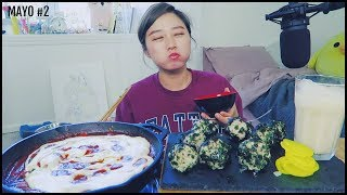 Mayonnaise #2 - Tuna Rice balls + Cheesy Ddukbbokki(spicy rice cakes) Mukbang