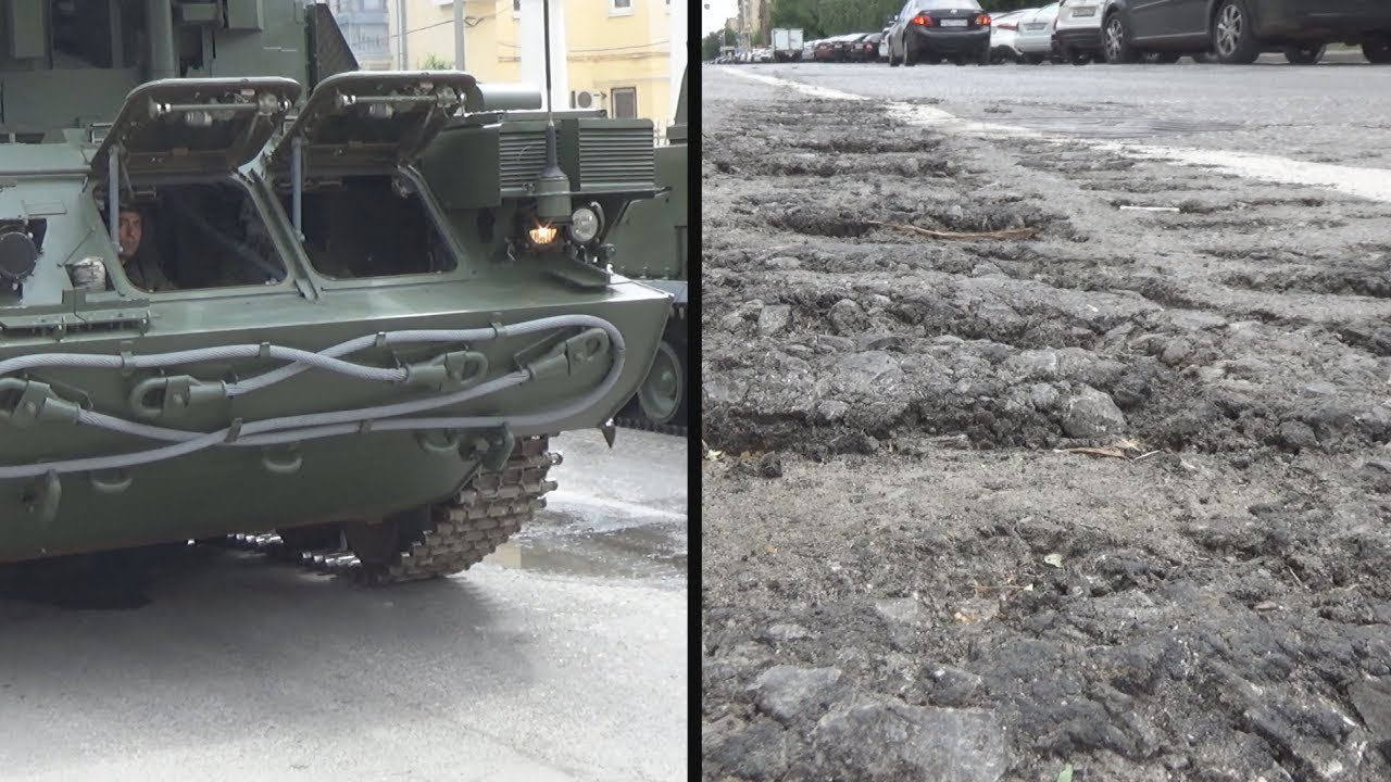 Танки разбили улицы Волгограда во время парада