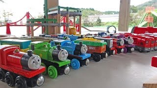 Thomas & Brio made a course and played happily outside!
