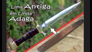 "ADAGA ""forjada de lima antiga"" ancient tool in beautiful dagger - forging"