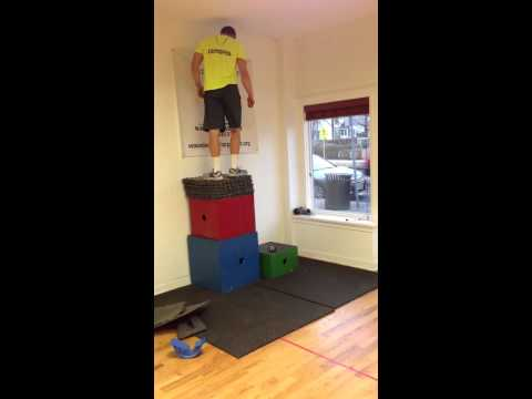 Chris Mattes 50 1/2 inch box jump at X-tra Mile Fitness