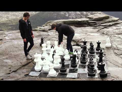 Magnus Carlsen playing chess on The Pulpit Rock - Norway Chess 2013