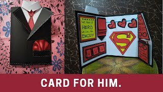 fathers day greeting cards   how to make card for fathers   how to make suit tuxedo card