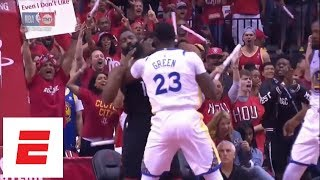 Draymond Green catches James Harden on the throat, gets technical foul just 1:07 into Game 1 | ESPN