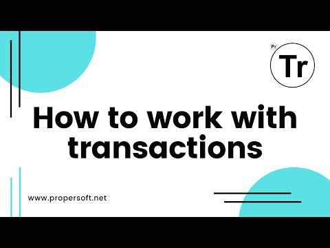 How to work with transactions