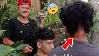 THIS IS NOT GOOD! PRANKING MY FRIEND WITH BAD HAIR CUT!