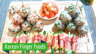 Korean Finger Food: Rice balls & Bacon-Enoki wraps