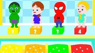 SUPERHERO BABIES AT THE SWIMMING POOL ❤ Spiderman, Hulk & Frozen Play Doh Cartoons For Kids