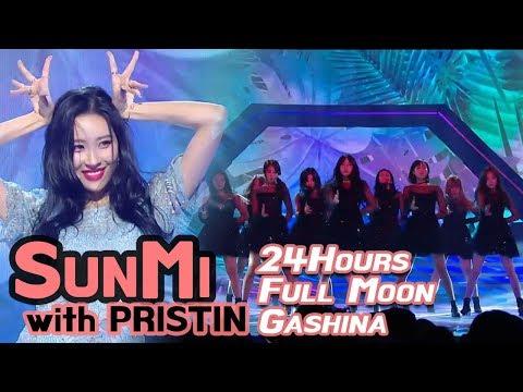 Sunmi -24hours+Full moon+Gashina, 선미 -24시간이 모자라+보름달+가시나 (w/PRISTIN) @2017 MBC Music Festival