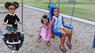 Sister Pushing Baby Brother in Swing Kids Pretend Play | FamousTubeKIDS